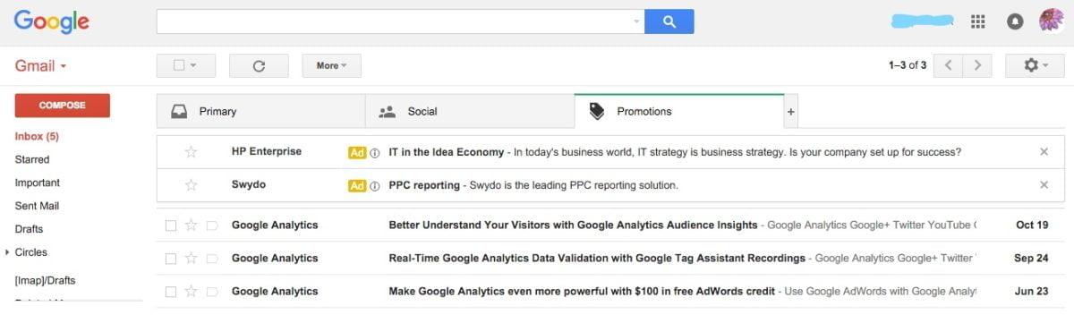 Gmail Inbox Advertising